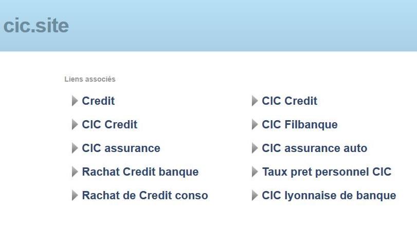 Page parking, Cybersquatting Nom Domaine .SITE, Banque CIC
