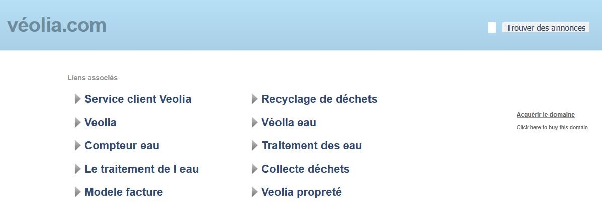 Cybersquatting Nom Domaine Accentué - Page parking Véolia .COM