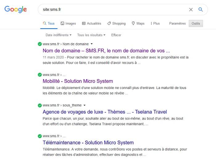 Historique indexation nom domaine Google