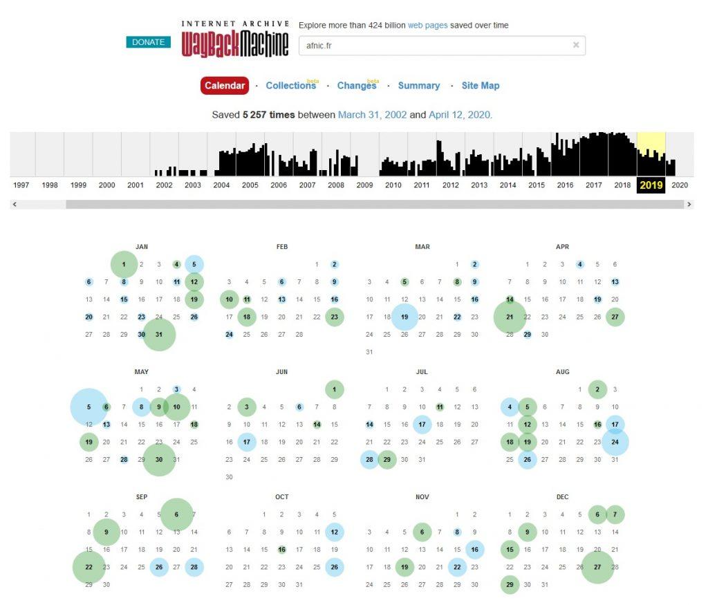 Historique Site Web Archive.org