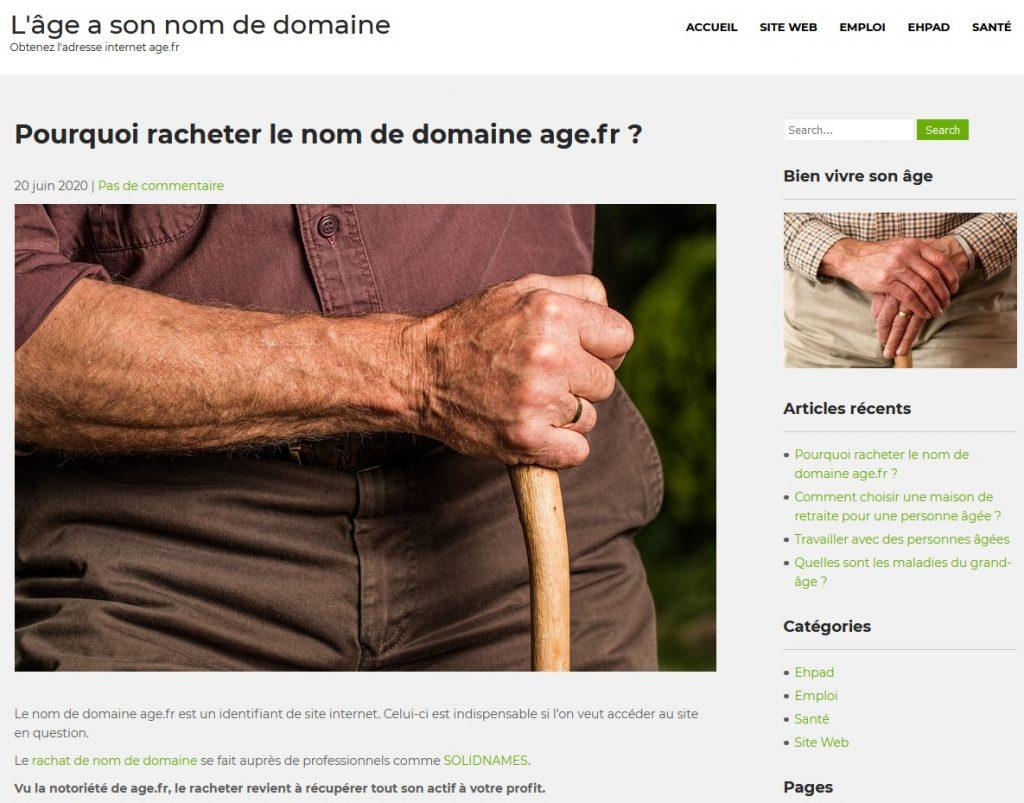 Revente nom de domaine age.fr