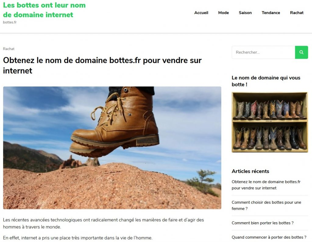 Revente nom de domaine bottes.fr