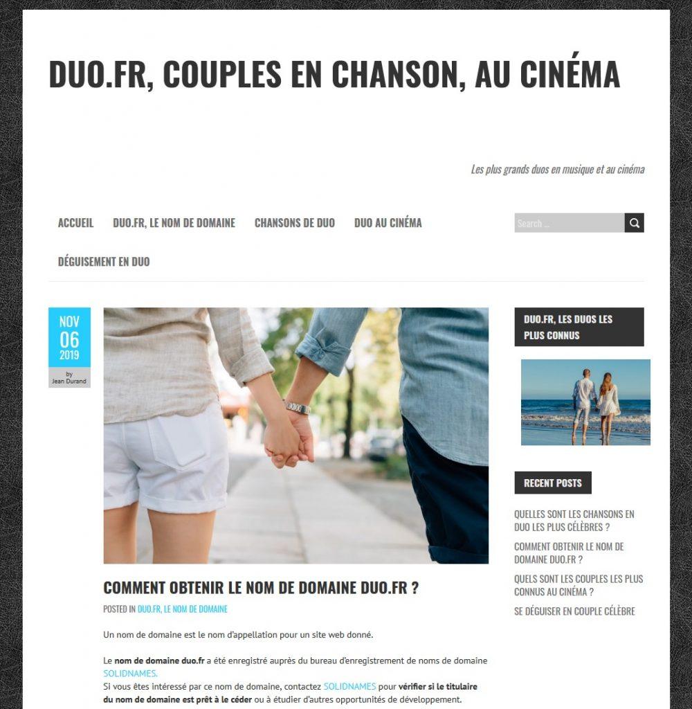 revente nom de domaine duo.fr