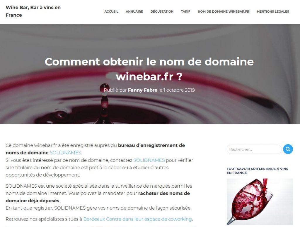 Revente nom de domaine winebar.fr